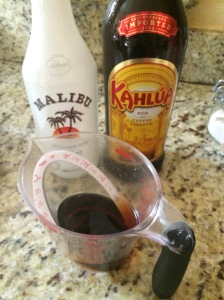 Combine your simple syrup, coconut rum and Kahlua.